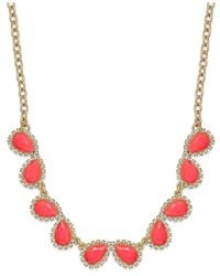 kate spade new york | Metallic Gold-tone Balloon Stone Mini Row Necklace | Lyst