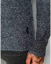 Lee Jeans - Gray Crew Knit Jumper Raglan Melange Waffle Structure for Men - Lyst