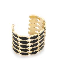House of Harlow 1960 | Del Sol Leather Cuff Bracelet - Black/gold | Lyst