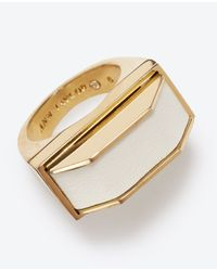 Ann Taylor - White Leather Ribbon Ring - Lyst