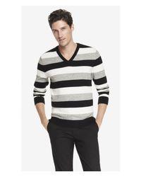Express - Black Striped V-Neck Sweater for Men - Lyst