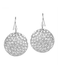 Aeravida - Metallic Round Hammered Textured Disc Sterling Silver Dangle Earrings - Lyst