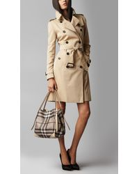 Burberry Natural Small Leather Saddlestitch Tote Bag