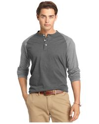 Izod | Black Big And Tall Colorblocked Long-sleeve Henley for Men | Lyst