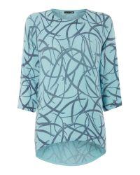 Viz A Viz | Blue Printed Knit Tunic | Lyst