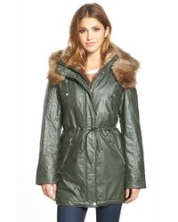 Marc New York | Green 'Lauren' Faux Fur Trim Drawstring Waist Parka | Lyst