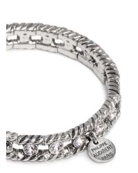 Philippe Audibert | Metallic Engraved Swarovski Crystal Elasticated Bracelet | Lyst