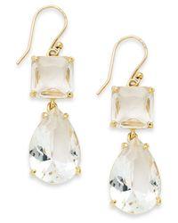 kate spade new york | Metallic Gold-tone Clear Stone Double Drop Earrings | Lyst