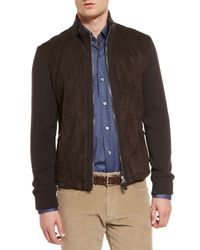 Ermenegildo Zegna - Brown Quilted Suede Jacket With Knit Sleeves for Men - Lyst