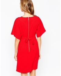 Closet - Blue Closet Obi Wrap Belt Dress With Kimono Sleeve - Lyst