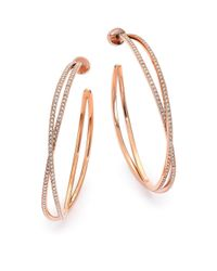 Michael Kors | Pink Brilliance Statement Pavé Rose Goldtone Crisscross Hoop Earrings/1.75 | Lyst
