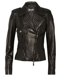Just Cavalli - Black Leather Biker Jacket - Lyst