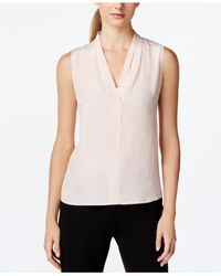 Calvin Klein | Pink Sleeveless V-neck Draped Top | Lyst