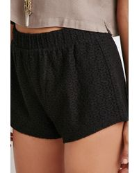 Forever 21 | Black Floral Lace Shorts | Lyst