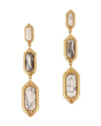 Isharya - Metallic 18Kt Gold Plated Agate Drop Earrings - Lyst