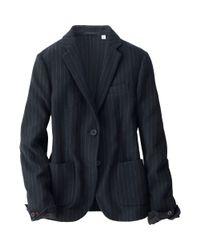 Uniqlo - Blue Women Idlf Soft Wool Jacket (striped) - Lyst