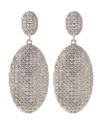 Freida Rothman - Metallic Cz Oval Pave Double-drop Earrings - Lyst