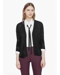 Mango - Black Trim Cardigan - Lyst