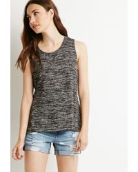 Forever 21 | Black Contemporary Marled Slit-back Tank | Lyst