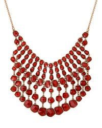 Lucky Brand | Red Caseline Beaded Gem Statement Necklace | Lyst