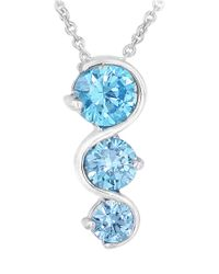 Lord & Taylor | Blue Sterling Silver Tiered Stone Pendant Necklace | Lyst