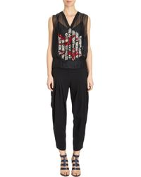 Maiyet - Black Embellished Organza Sleeveless Top - Lyst
