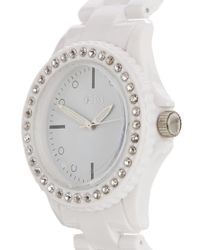 Oasis - Ladies Whitestone Set Plastic Watch - Lyst