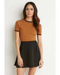 Forever 21 - Brown Striped-trim Ribbed Top - Lyst