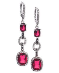 Judith Jack | Red Sterling Silver Crystal Corundum And Marcasite Linear Drop Earrings | Lyst