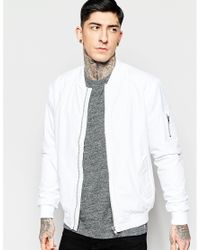 Minimum Bomber Jacket In White - White in White for Men | Lyst