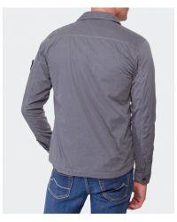 Stone Island - Gray Zip-Through Overshirt for Men - Lyst