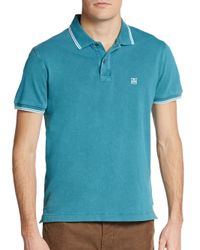 Corneliani | Blue Tipped Pique Polo for Men | Lyst