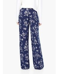 Mango - Blue Floral Palazzo Trousers - Lyst