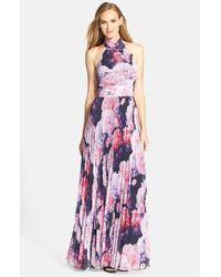 64882c1266acd Lyst - Eliza J Floral Chiffon Maxi Dress in Purple