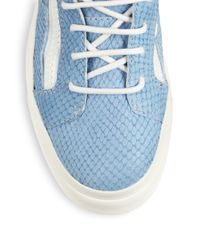 Giuseppe Zanotti - Blue Snake-Embossed Leather High-Top Sneakers - Lyst