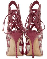 Sophia Webster | Purple Fuchsia Croc_embossed Mila Sandal | Lyst