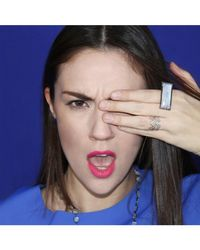 Adornia | White Moonstone And Blue Sapphire Lichtenstein Ring | Lyst