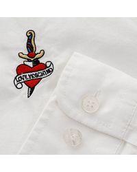 Moschino - Love Heart And Dagger Plain White Ls Shirt Cz1250156 for Men - Lyst