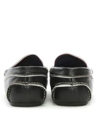 Gucinari - Black Leather Contrast Trim Loafers for Men - Lyst