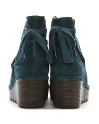 Fly London - Green Yama Petrol Suede Wedge Ankle Boots - Lyst