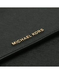 Michael Kors - Large Gusset Black Leather Cross-body Bag - Lyst