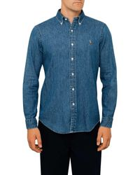 Polo Ralph Lauren | Blue Custom Fit Sueded Braodcloth Sports Shirt for Men | Lyst