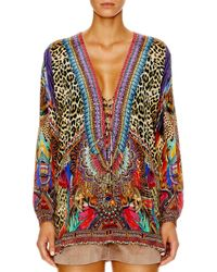 Camilla - Multicolor Kingdom Call Lace Up Shirt - Lyst