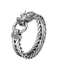 John Hardy - Metallic Men's Naga Silver Dragon Head Bracelet On Fishtail Chain for Men - Lyst