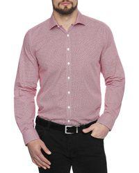 Geoffrey Beene - Red Mendacino Medallion Body Fit Shirt for Men - Lyst