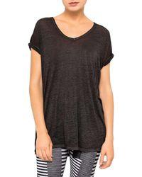 Calvin Klein   Black V-neck Rolled Short Sleeve Tee   Lyst