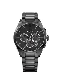 BOSS Black - Black Boss Mens Rnd Chrono Blk Dial Blk Bracelet for Men - Lyst