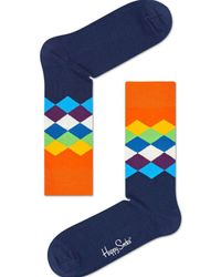 Happy Socks - Blue Faded Diamond Sock - Lyst