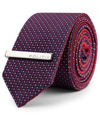 Politix - Purple Lukin Pattern Reversible Tie With Tie Bar for Men - Lyst