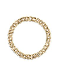 David Yurman - Metallic Belmont Curb Link Necklace With Diamonds In 18k Gold, 18mm - Lyst